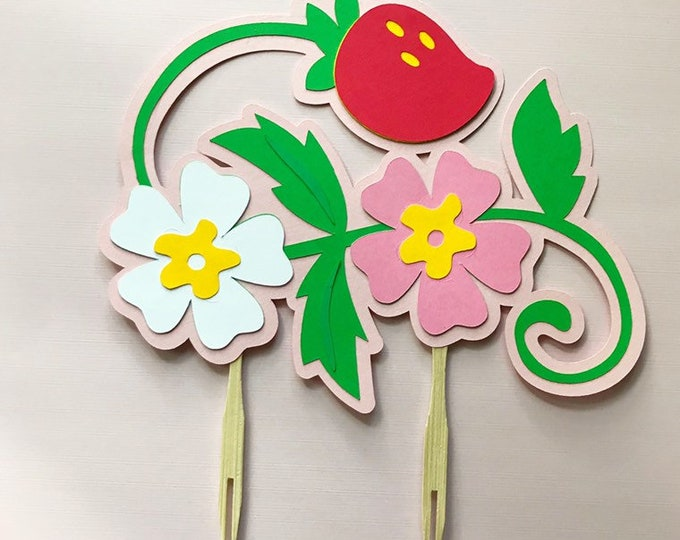 Strawberry Blossom Cake Topper - Birthday Cake Decorations, Berry First Birthday, Girl Birthday Party, Berry Sweet
