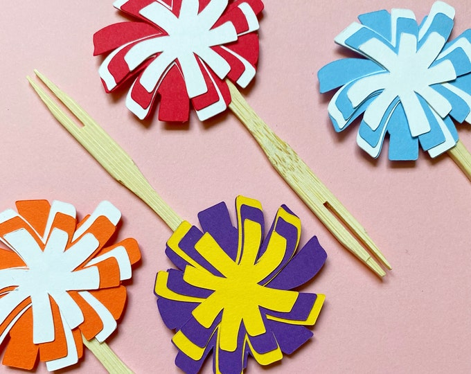 Pom Pom Cupcake Toppers Set of 12 - Cheerleading, GameDay, School Spirit Decor, Team Birthday Party, Gender Reveal, Baby Shower