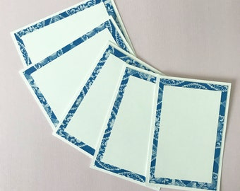 White and Blue Place Cards (Set of 12) - Dinner Party Decor, Floral, Food Label Cards, Hostess Gift