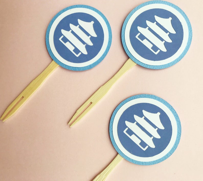 Blue and White Pagoda Cupcake Toppers Set of 12  Blue and image 0