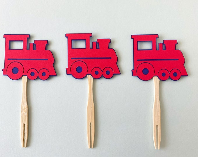 Red Train Cupcake Toppers - Set of 12,  Train Themed Birthday Party Decor, First Birthday, One
