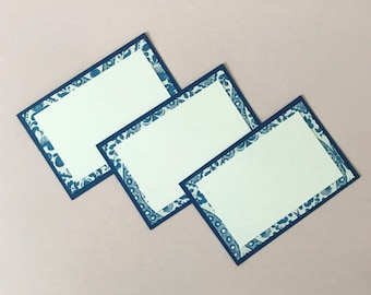 Blue and White Place Cards (Set of 12) - Dinner Party Decor, Chinoiserie, Party Decor, Food Label Cards, Hostess Gift