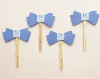 Blue Bow Tie Cupcake Toppers - Little Gentleman Birthday, Baby Shower, Blue and White, Little Man Party