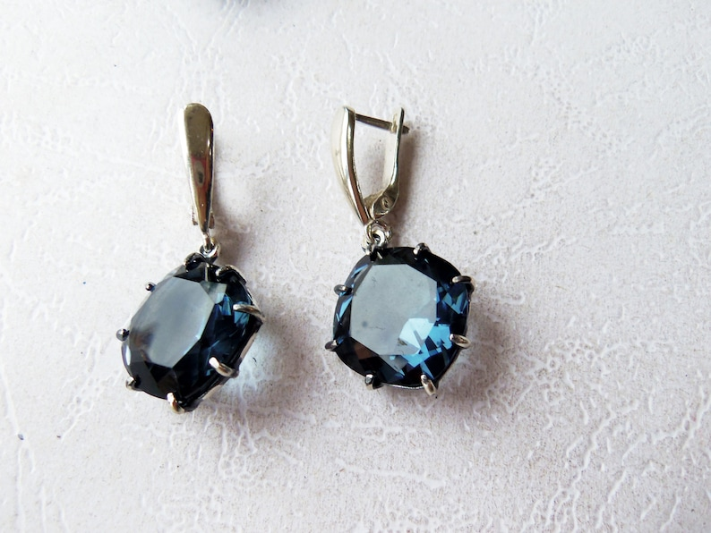 Ocean blue stone jewelry transparent blue stone earrings ring Armenian handmade jewelry large circle QUARTZ earrings blue stone accessories