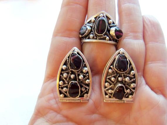 black onyx vintage earrings ARMENIAN JEWELRY sterling silver 925 black onyx earrings stud armenian vintage jewelry set armenian gifts