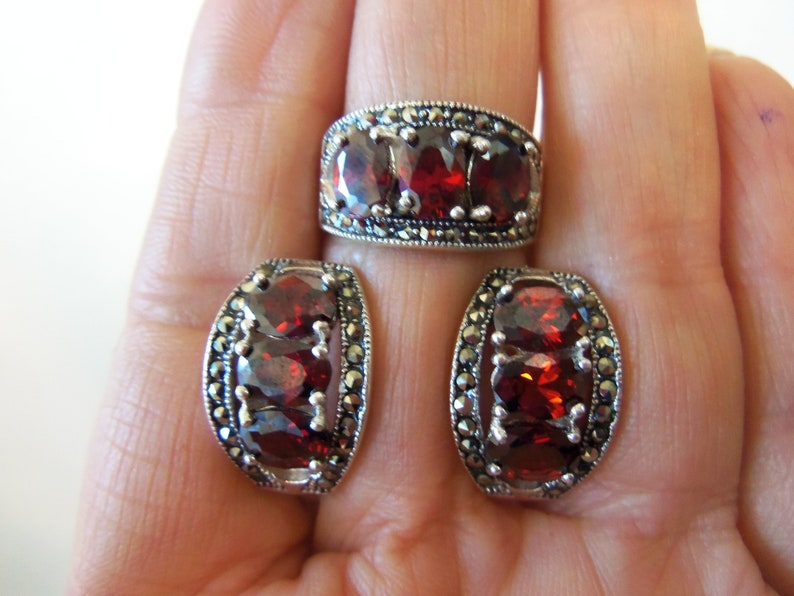MARCASITE JEWELRY sterling silver marcasite earrings red stone marcasite earrings stud red earrings marcasite jewelry armenian gifts armenia