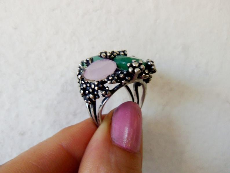 ARMENIAN JEWELRY sterling silver 925 natural jade ring pink quartz ring chrysoprase rings armenian rings art deco rings \u0430\u0440\u043c\u044f\u043d\u0441\u043a\u0438\u0435 \u0443\u043a\u0440\u0430\u0448\u0435\u043d\u0438\u044f