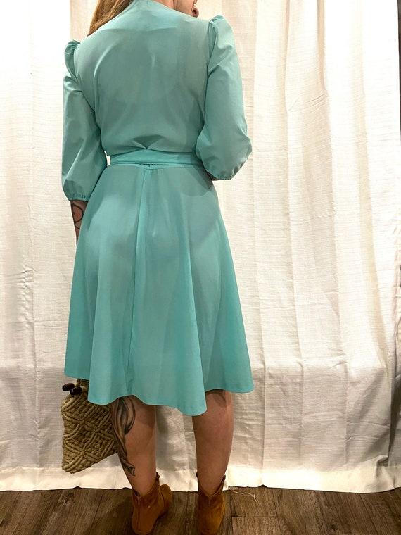 Vintage 1970s mint green skater dress. - image 3