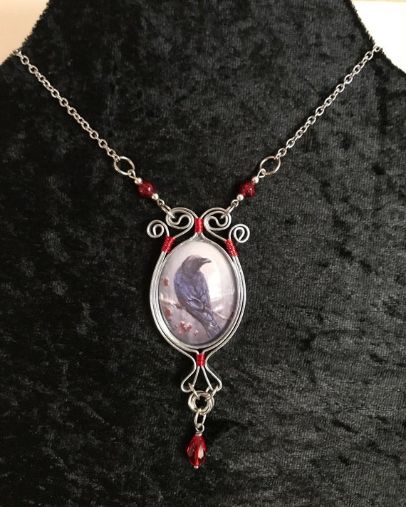 Raven Wired Wrapped Pendant Necklace