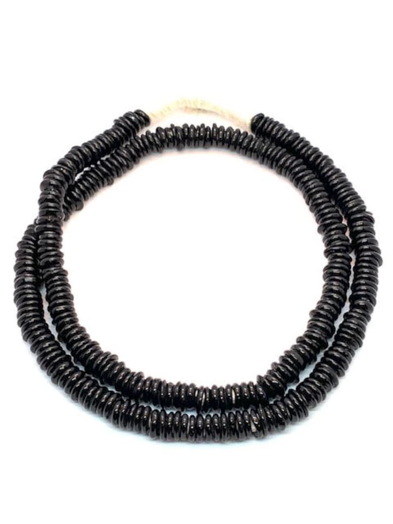 Originally Made By Dutch Mali Tribal Handmade Beads African Black Glass Dogon Donut Beads Wholesale Trade- DO1240B