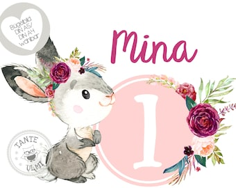 """Ironing image """"Wish name and number"""" small bunny"""