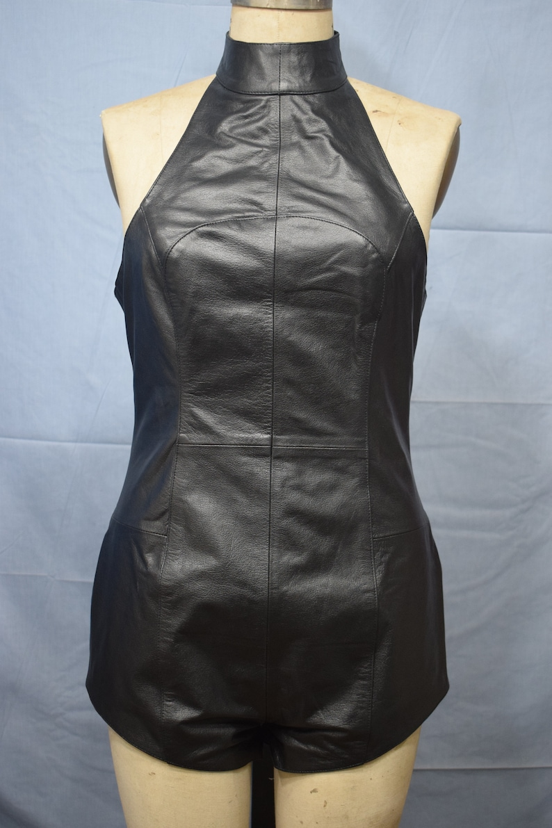 23f627851f8 Real Genuine Leather Women Teddy Catsuit Dance Bar Bustier
