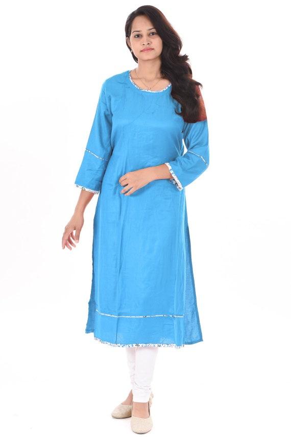 Indian 100/%Cotton Women/'s Long Kurti Solid Pink Color Frock Suit Bohemian Girl/'s Ethnic Long Dress Maxi Gown Top Tunic plus Size