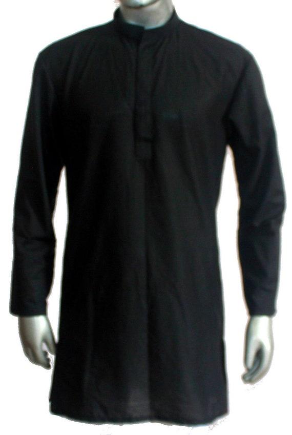 "Mans Indian Shirt 100/% Cotton Tunic Kurta Plus Size Dark Blue Solid Plain L-42/"""
