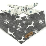 Grey and white Christmas Dog Bandana with a winter forest, deer, snowflakes