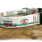 Happy Camper dog collar, camping surfing surfboard design, Eco Canvas, collars for dogs, for active dogs large collar