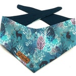 "Blue Winter Dog Bandana with an ""ENCHANTED WINTER FOREST"" and deer, Christmas bandana for dogsa"