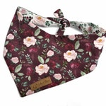 """Dog Bandana with floral print """"Rose Garden"""", reversible bandana for girl dogs snap or tie-on, dog scarf with roses, cotton fabric"""