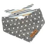 Modern greyDog Bandana with HEARTS and stripes, minimalist grey dog scarf
