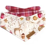 Cozy Christmas Dog Bandana, red pink plaid bandana for dogs, cute deer, snowman, cocoa, cookies