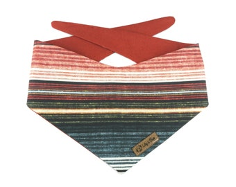Striped Dog Bandana SOUTHWESTERN EARTH, stripes in autumn colors / earth tones of olive green, dark teal and rust orange, reversible