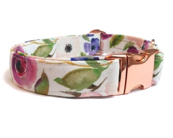 """Floral dog collar with pink flowers, Eco Canvas, """"BLOSSOM"""" cute fabric dog collar, girly dog collar, floral small collar for female  dogs"""