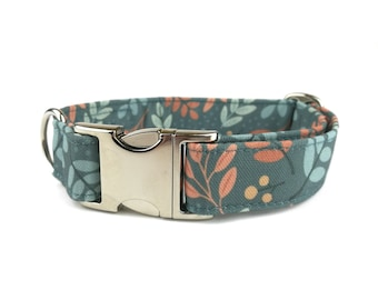 Fall dog collar AUTUMN SKY, leaves in orange and bown on teal grey, fabric dog collar, Eco Canvas