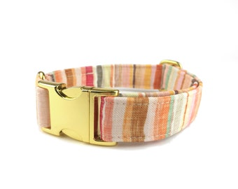 Striped dog collar HOPE, stripes in autumn colors / earth tones, fabric dog collar, Eco Canvas