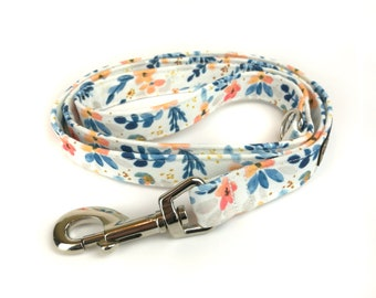 Floral white dog leash LUCCA, with blue orange flowers, fabric lead - 3 lengths to choose - adjustable length