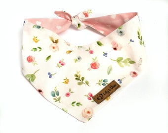 """Cute floral dog Bandana with hearts and flowers """"SWEET SPRING"""", dog scarf white and pink"""