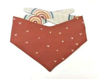 Fall brown dog bandana with cute white hearts Rainbow dog bandana, linen style