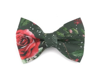 Green floral dog bow tie CHRISTMAS ROSE, bowtie for dog collar