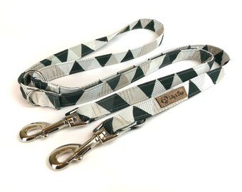 Geometric dog leash GINO with triangles in black and white, fabric lead - 3 lengths to choose - adjustable length