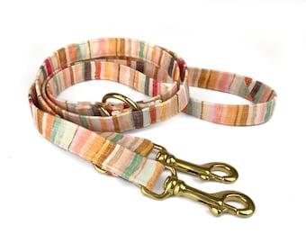 Striped dog leash HOPE, stripes in autumn colors / earth tones, fabric lead - 3 length to choose - adjustable length