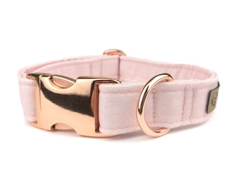 Rose pink blush dog collar, fabric dog collar made from Eco Canvas and polyester webbing inside,  collars for dogs