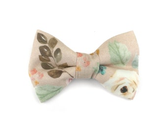 Floral dog bow tie AUTUMN GARDEN, light brown / beige / cream with rose and leaves, bowtie for dog collar