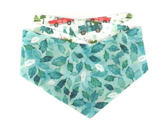 Teal blue winter Dog Bandana DRIVING HOME, watercolor leaves / holly,  back side christmas trees on cars, reversible