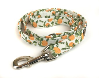 White dog leash with oranges and leaves VALENCIA, fabric lead - 3 lengths to choose - adjustable length