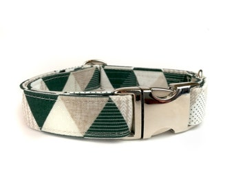 Geometric dog collar GINO with triangles in black and white, fabric dog collar, Eco Canvas