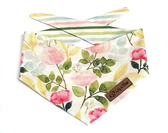 """Delicate floral dog Bandana with roses and stripes """"DAINTY"""", cute spring dog scarf"""
