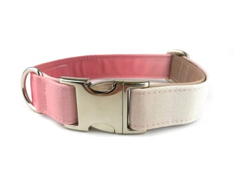 Pink brown OMBRE dog collar, fabric dog collar, Recycled Canvas
