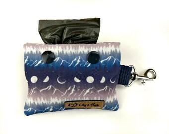 Dark blue purple poop bag holder MIDNIGHT MOUNTAIN with moon phases and mountains, dog waste bag holder, poop bag dispenser