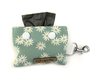 Floral poop bag holder DAISY, mintgreen with cute white flowers, dog waste bag holder, poop bag dispenser