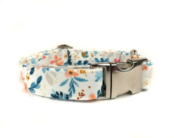 Floral white dog collar LUCCA, with blue orange flowers, water color style, fabric dog collar, Eco Canvas