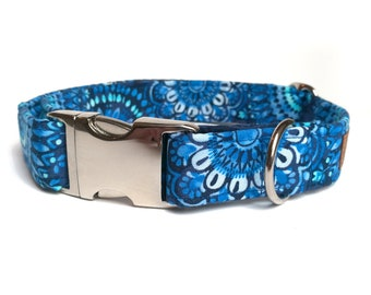 Blue dog collar with silver col. buckle, tie dye style, fabric dog collar, dog collar silver, large collar, male dogs