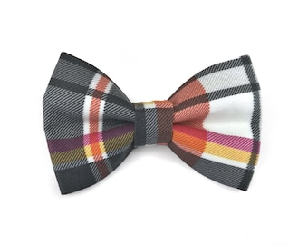 Checkered dog bow tie FALL PLAID, autumn colors of black and white, yellow and rust, bowtie for dog collar