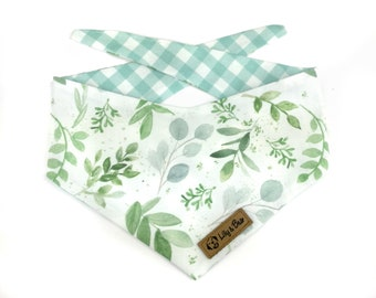 White dog bandana with EUCALYPTUS and greenery leaves, floral cotton fabric bandana with mountains for outdoor dogs