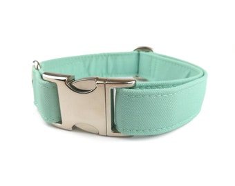 Mint green / light teal / pastel tuquoise dog collar, autumn fabric dog collar made from Recycled  Eco Canvas