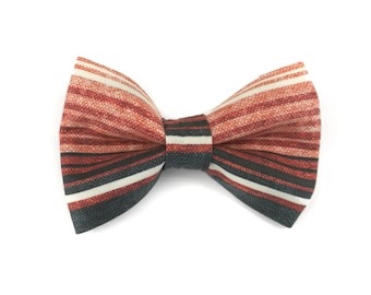 Striped dog bow tie SOUTHWESTERN EARTH, stripes in autumn colors / earth tones, bowtie for dog collar