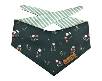 """Navy blue dog bandana with flowers and stripes """"FINNLEY"""", floral cotton fabric bandana"""